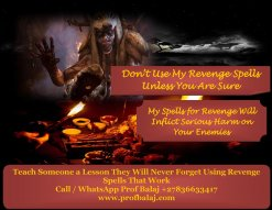 Death Spells That Work Overnight - Most Powerful Revenge Spells to Punish Someone Call Are you in need of a revenge spell? Do you want the person that has harmed you get what they deserve? My voodoo revenge spells will do just that. Cast it to punish your enemies with misfortune, curses, hexes & bad luck in their lives. ...